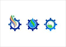 Water ecology gear vector logo icon. Vector royalty free illustration