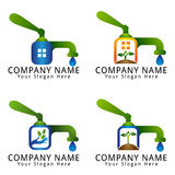 Water, Ecology, Wellness, Environment, agriculture, and Natural Concept Logo with Water Pump Royalty Free Stock Image