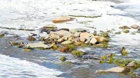 Water in een ondiepe rivier in de vroege lente met sneeuw en ijs stock video