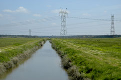 Water & Electricity. Landscape at Barroca, Alcochete,southren Portugal,E.U Stock Photography