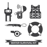 Water Emergency Surival Kit Icons. Water survival kit. Safety gear essentials in outline design. Life vest, EPIRB, portable finder, lifebuoy, whistle and knife Royalty Free Stock Image