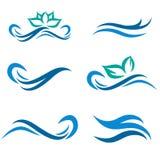 Water en Kuuroord Logo Set stock illustratie