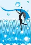 Water en meisje Stock Illustratie