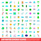 100 water energy icons set, cartoon style. 100 water energy icons set in cartoon style for any design vector illustration Stock Photography