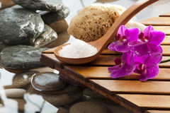Water environment at asian beauty spa. Sea salt for hydrating massage Stock Images