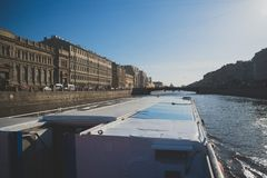 Water excursions. Water excursions along the rivers and canals of St. Petersburg. Leshtukov bridge royalty free stock image