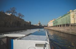 Water excursions. Water excursions along the rivers and canals of St. Petersburg royalty free stock photography