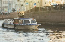 Water excursions. Water excursions along the rivers and canals of St. Petersburg royalty free stock image