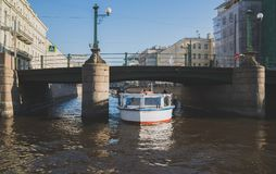 Water excursions. Water excursions along the rivers and canals of St. Petersburg stock photo