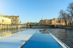 Water excursions. Water excursions along the rivers and canals of St. Petersburg royalty free stock images