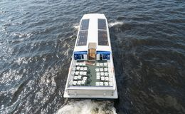 Water excursions. Water excursions along the rivers and canals of St. Petersburg stock photos