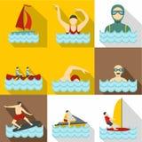 Water exercise icons set, flat style Royalty Free Stock Image
