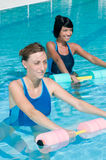 Water exercising with aqua dumbbell Stock Photo