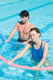 Water exercising with aqua tube Royalty Free Stock Image
