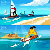 Water Extreme Compositions. Water extreme and surfing compositions with people  on watercraft surfboard hydrocycle flat vector illustration Royalty Free Stock Images