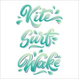 Water extreme sport lettering set. In graffiti style isolated on white background: kite, surf, wake. Vector illustration for design t-shirts, banners, labels Stock Images