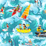Water extreme sports seamless patterns, design elements for summer vacation activity textile, cartoon wave surfing, sea Royalty Free Stock Photo