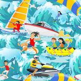 Water extreme sports seamless patterns, design elements for summer vacation activity textile, cartoon wave surfing, sea Royalty Free Stock Photos