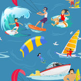 Water extreme sports seamless patterns, design elements for summer vacation activity textile, cartoon wave surfing, sea. Set of water extreme sports icons Royalty Free Stock Photography
