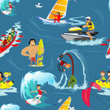 Water extreme sports seamless patterns, design elements for summer vacation activity textile, cartoon wave surfing, sea Royalty Free Stock Image