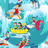 Water extreme sports seamless patterns, design elements for summer vacation. Set of water extreme sports icons, isolated design elements for summer vacation Stock Photos