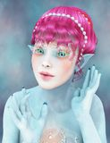 Water fae. 3D illustration of a water fae with pointy ears and coral make-up royalty free illustration