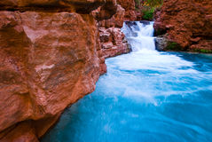 Water Fall. This is the colorful beaver falls in the Grand Canyon Stock Images
