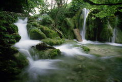 Water Fall. A small water fall in a national park in Croatia. 1-2 sec exposure royalty free stock photos