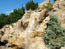 Water Fall cascades and Rocks detail Stock Photo