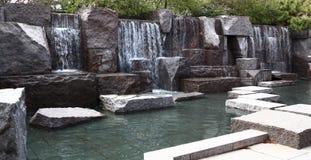 Water Fall at FDR Memorial. Park Stock Photo