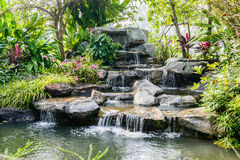 Water fall in garden Stock Photo