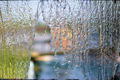 Blurry Water fall in garden,abstract background Royalty Free Stock Images