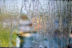 Blurry Water fall in garden,abstract background Royalty Free Stock Photo