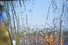 Blurry Water fall in garden,abstract background Royalty Free Stock Photos