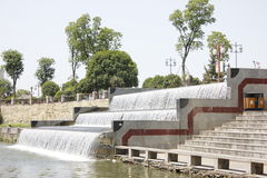 The water-fall inputting the City Moat (Xiangyang,China) Royalty Free Stock Photography