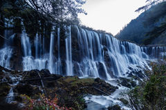 Water fall on Jiuzhaigou Valley. Clean water and silk like water fall Royalty Free Stock Photos