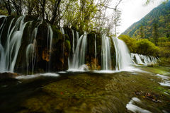 Water fall on Jiuzhaigou Valley. Clean water and silk like water fall Stock Photo