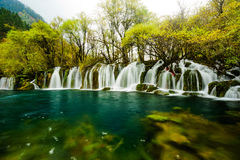 Water fall on Jiuzhaigou Valley. Clean water and silk like water fall Stock Photos
