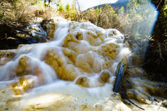 Water fall on Jiuzhaigou Valley with mineral retention Stock Photography