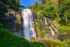 Water fall located in deep rain forest jungle. Water fall in spring season located in deep rain forest jungle beautiful landscape Stock Image