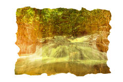 Water fall on old paper texture Royalty Free Stock Image