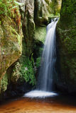 Water fall on river. Waterfall in the national park Adrspach in Bohemia Stock Photos