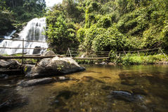 Water fall in spring season located in deep rain forest jungle. Royalty Free Stock Photos