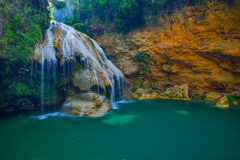 Water fall in spring season located in deep rain forest jungle. Beautiful landscape Royalty Free Stock Photos