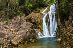 Water fall in spring season located in deep rain forest jungle. Beautiful landscape Royalty Free Stock Photography