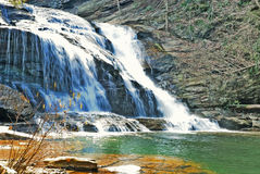 Water Fall With Green Basin Stock Image