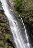 Water falling into midway pool at waterfall of Pistyll Rhaeadr in Wales stock photography