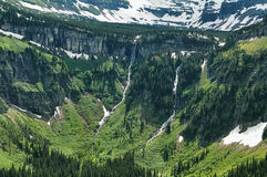 Water falling from the mountains walls Stock Image