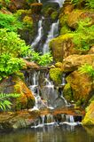 Water falls. At the Japanese garden in Portland, Oregon Royalty Free Stock Photos