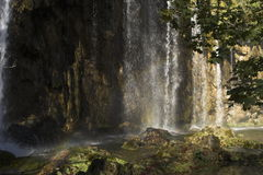 Water falls. Waterfalls in the sunlight and shade Stock Photo